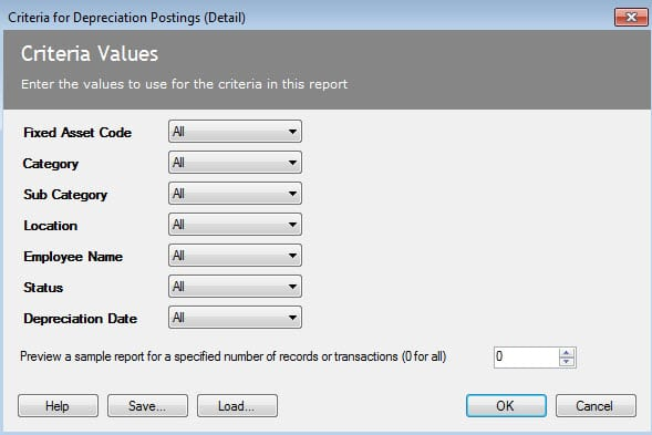 Sicon Fixed Assets Help and User Guide - Depreciation posting detail report