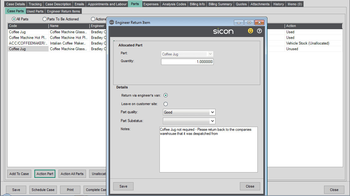 126. Sicon Service Help and User Guide - Action Part - Return Part