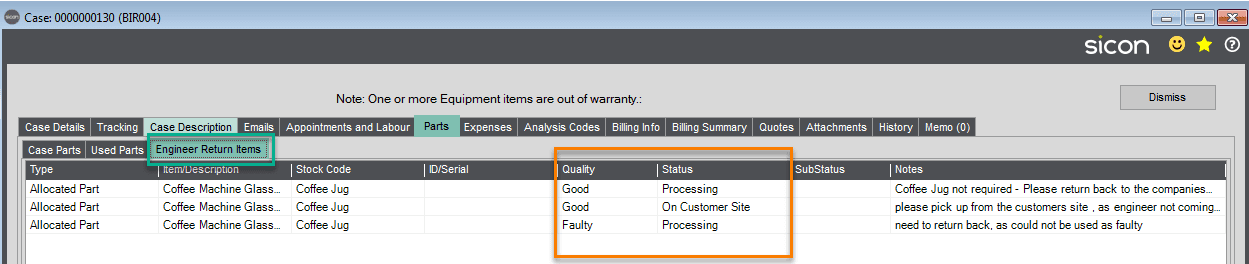 129. Sicon Service Help and User Guide - Engineer Returned Items Tab