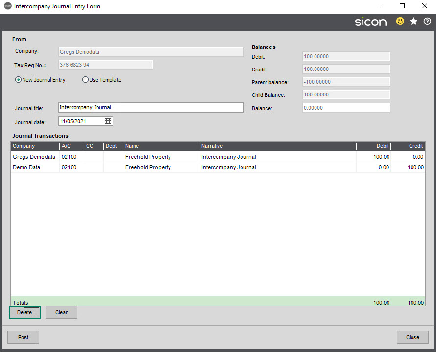 Sicon Intercompany Help and User Guide - 13.1 VAT Group Intercompany Journal
