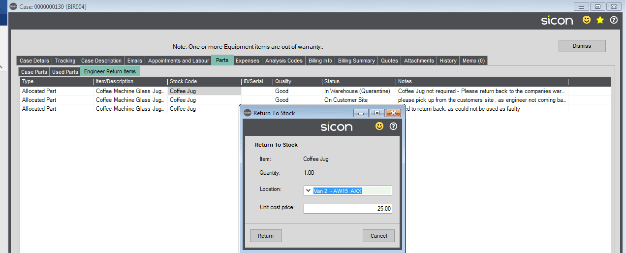 133. Sicon Service Help and User Guide - Process Engineers Returned Parts