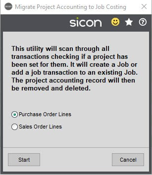 Sicon Job Costing Help and User Guide - Migrate from Project Accounting