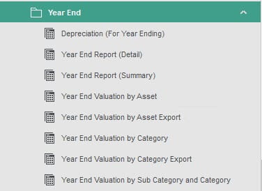 Sicon Fixed Assets Help and User Guide - Year EndReport