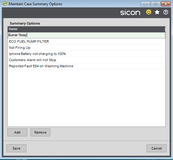 15. Sicon Service Help and User Guide - Maintain Case Summary Options
