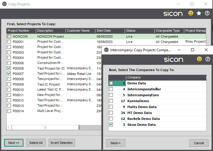 Sicon Intercompany Help and User Guide - 17 Copy Projects
