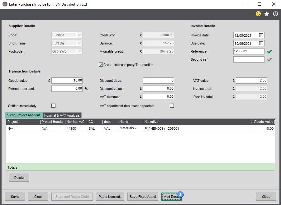 Sicon Intercompany Help and User Guide - 17 Enter Purchase Invoice