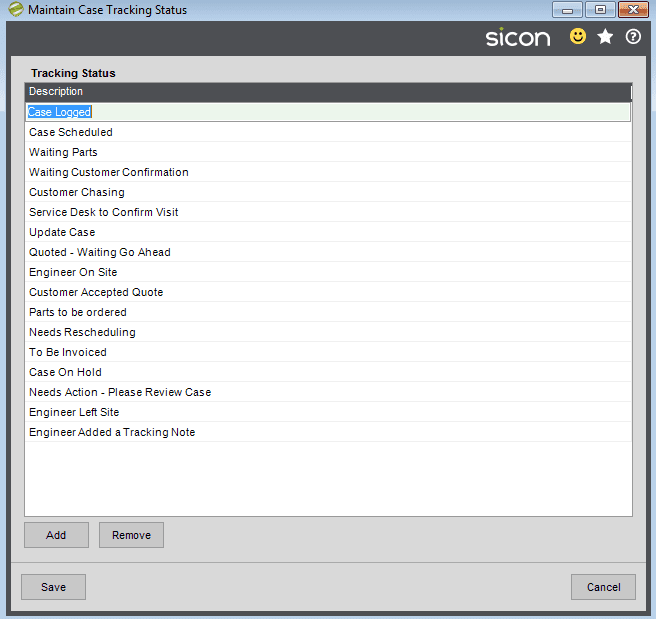 18. Sicon Service Help and User Guide - Maintain Case Tracking Status