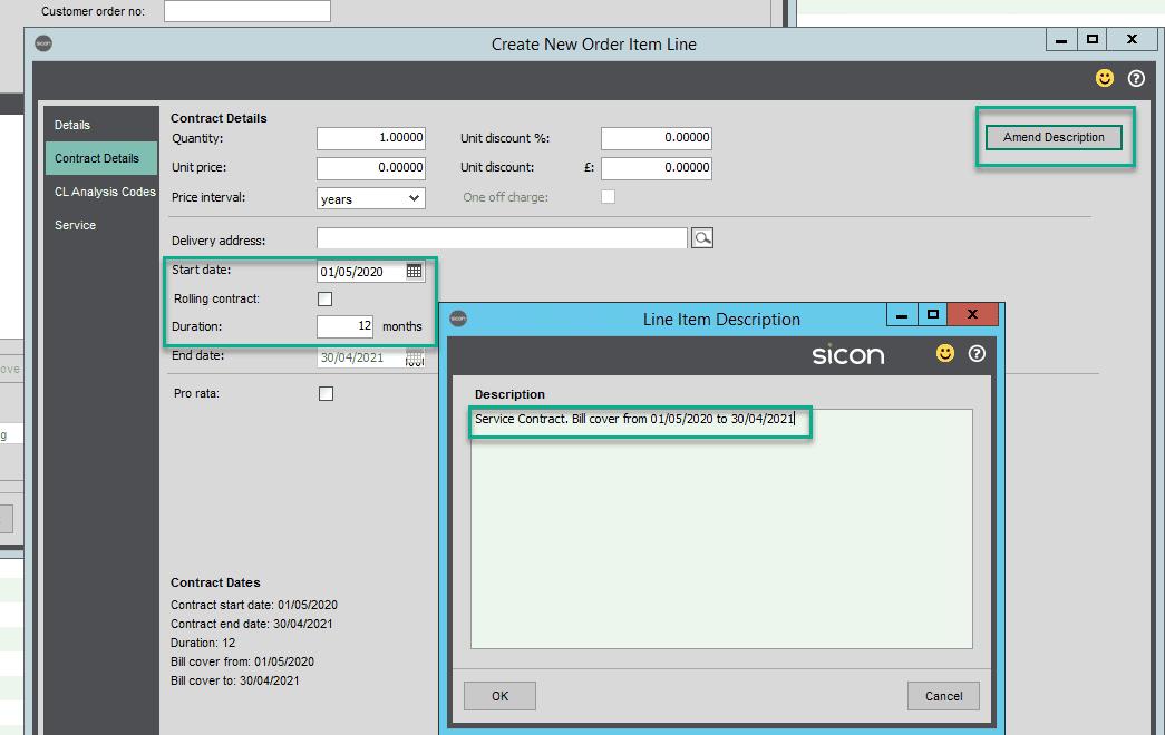 Sicon Contracts Help and User Guide - amend description