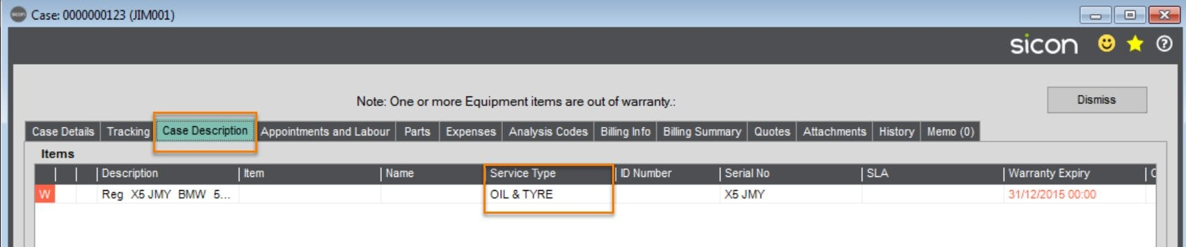 Within the Case Description Tab, it will show the 2 service elements I chose to action out of the possible 4