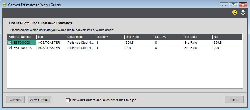 Sicon Works Order Processing Help and User Guide Convert estimates to works orders