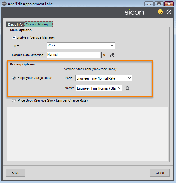 3. Sicon Service Help and User Guide -Add Edit Appointment Label