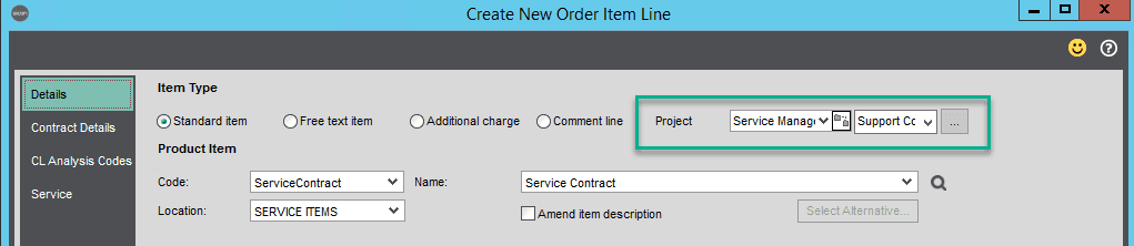 Sicon Contracts Help and User Guide - setting a sicon project and header