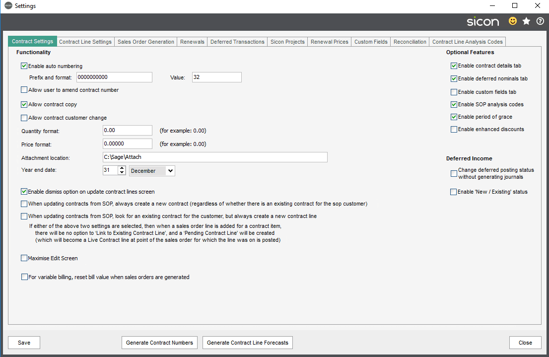 Sicon Contracts Help and User Guide - 3.1 image 1 settings tab main