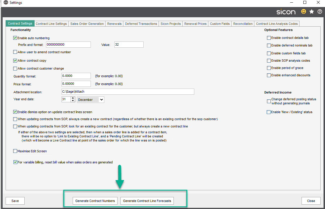 Sicon Contracts Help and User Guide - 3.1 image 18 options at bottom