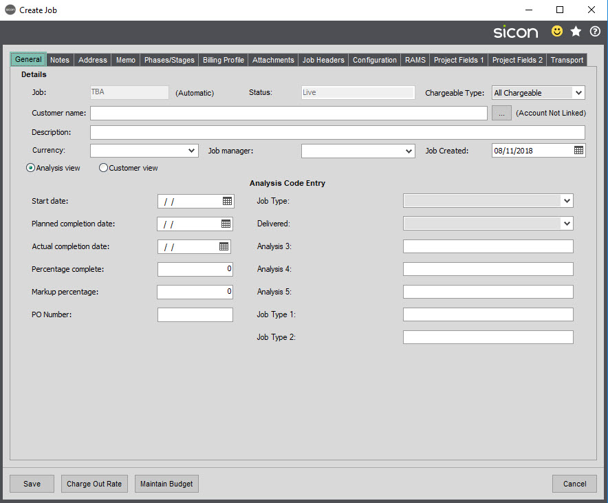 Sicon Job Costing Help and User Guide - General tab