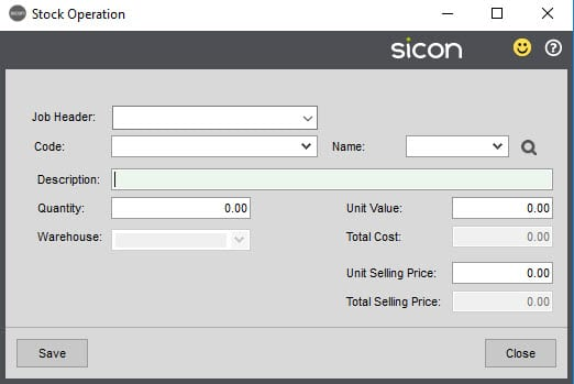 Sicon Job Costing Help and User Guide - Stock Operation