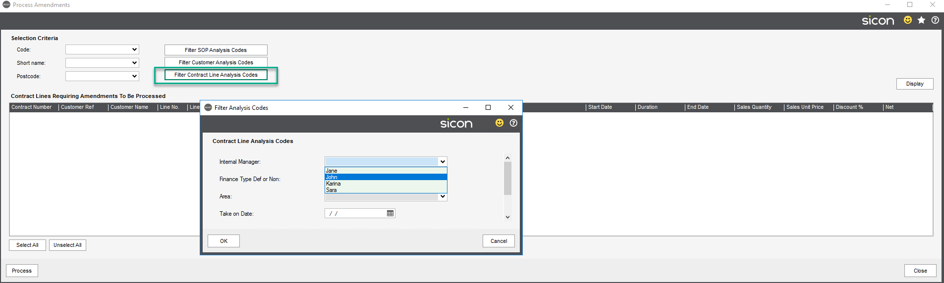 Sicon Contracts Help and User Guide - 3.10 IMAGE 9 CONTRACT LINE FILTER