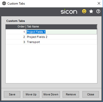 Sicon Job Costing Help and User Guide - Custom Tabs