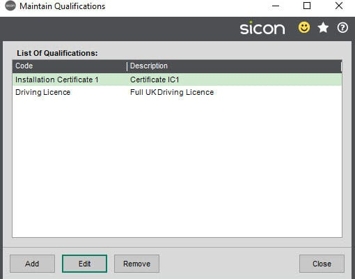 Sicon Job Costing Help and User Guide - Maintain Qualfications