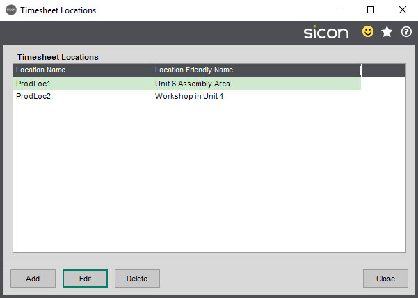 Sicon Job Costing Help and User Guide - Timesheet Locations