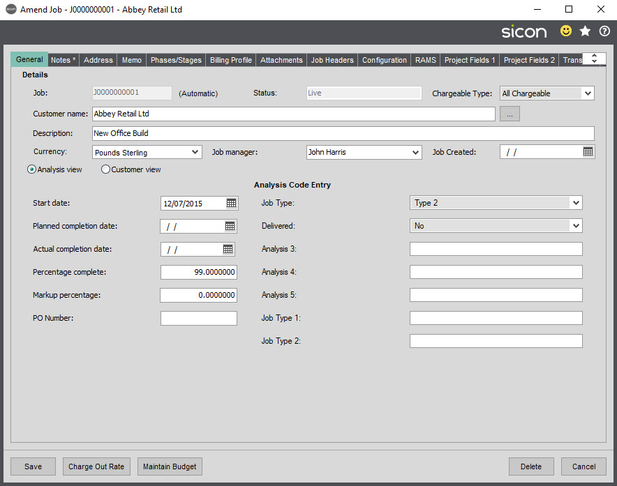 Sicon Job Costing Help and User Guide - Amend Job