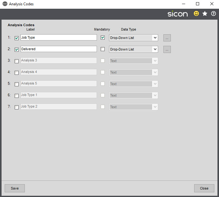 Sicon Job Costing Help and User Guide - Analysis Codes