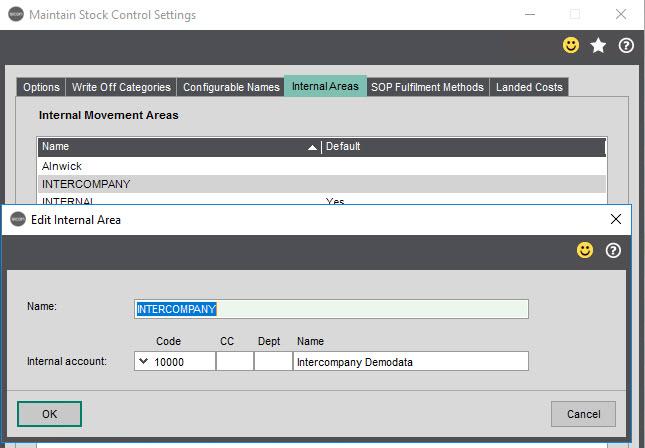 Sicon Intercompany Help and User Guide - 3.5 Edit Internal Area