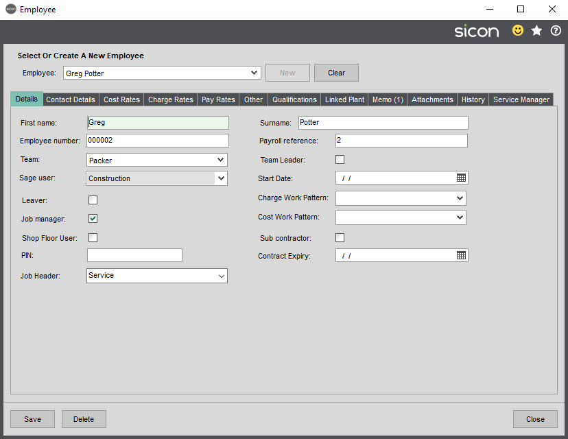 Sicon Job Costing Help and User Guide - Employee Details