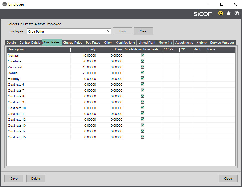Sicon Job Costing Help and User Guide - Employee Cost Rates