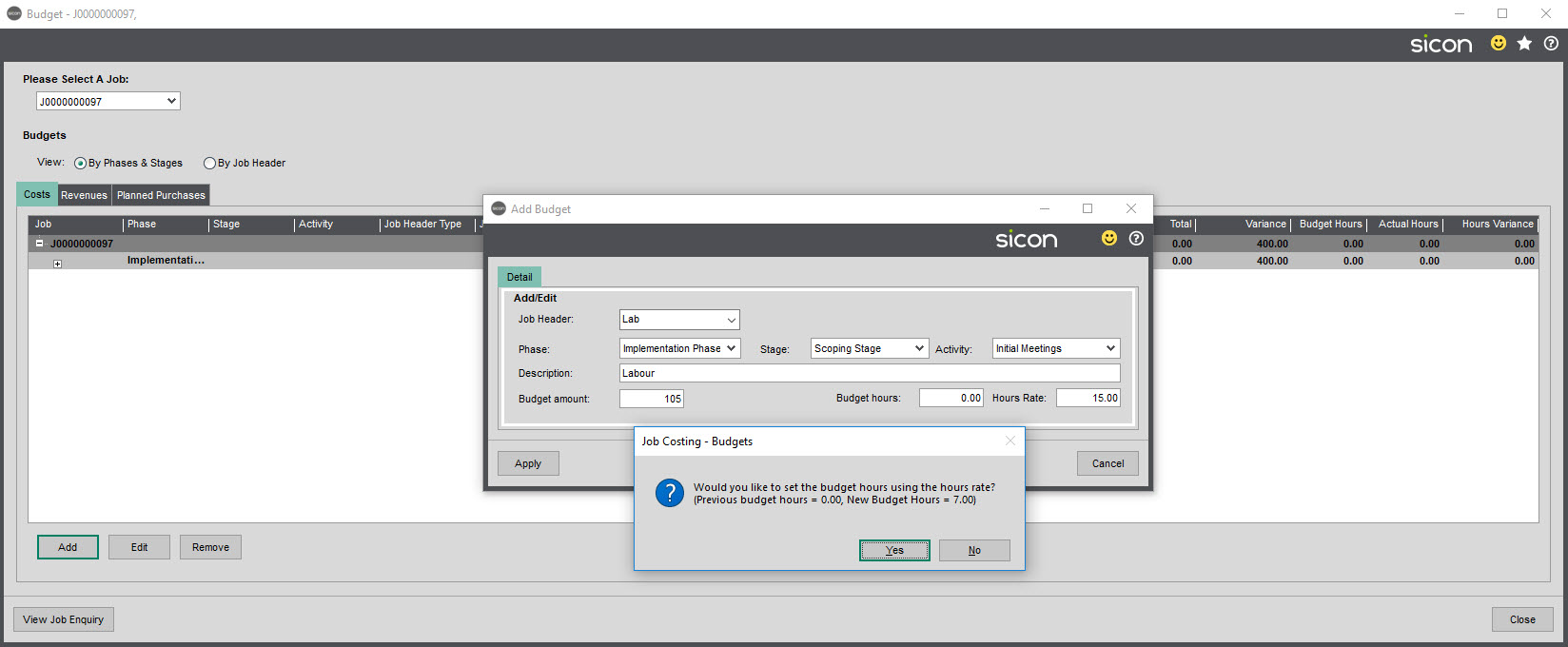Sicon Job Costing Help and User Guide - Budgets Labour Prompt