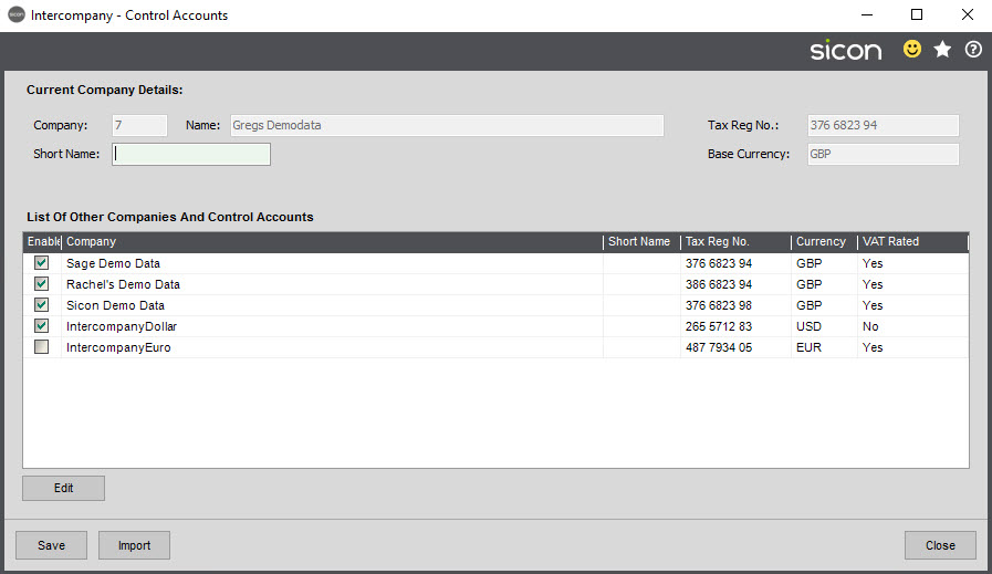 Sicon Intercompany Help and User Guide - 3.8 Control Accounts