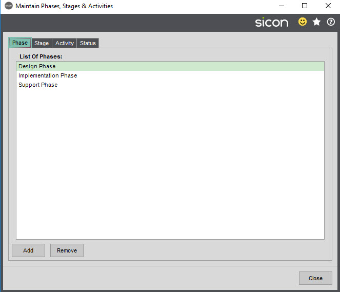 Sicon Job Costing Help and User Guide - Maintain Phases
