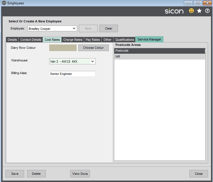 32. Sicon Service Help and User Guide - Employees - Service Tab