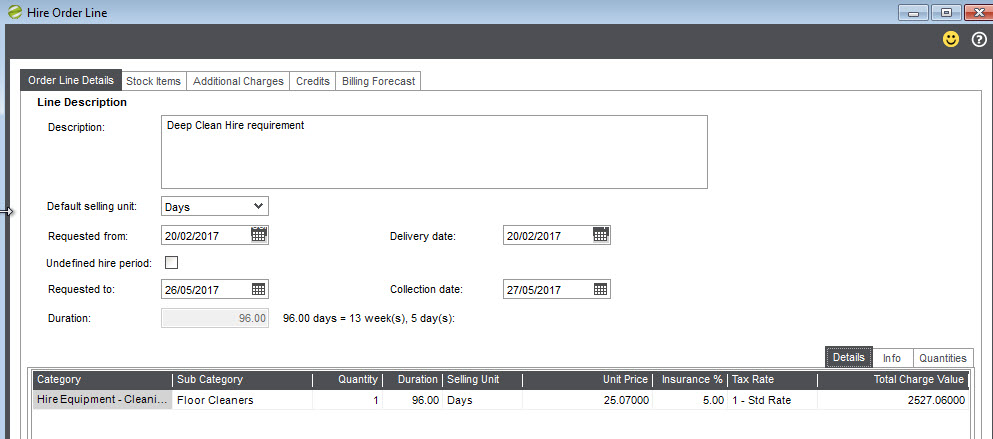 Hire Manager New Hire order adding lines