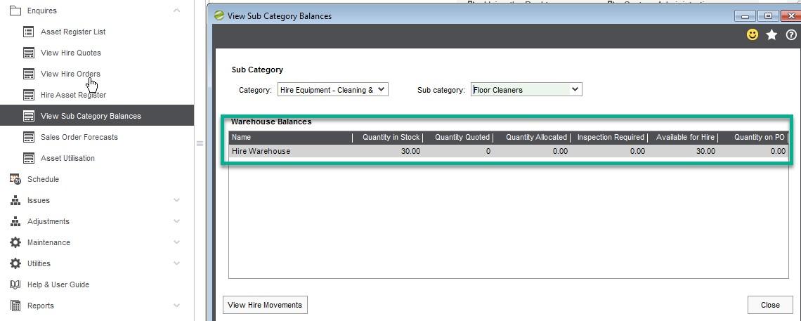 Hire Manager View Sub Category Balances
