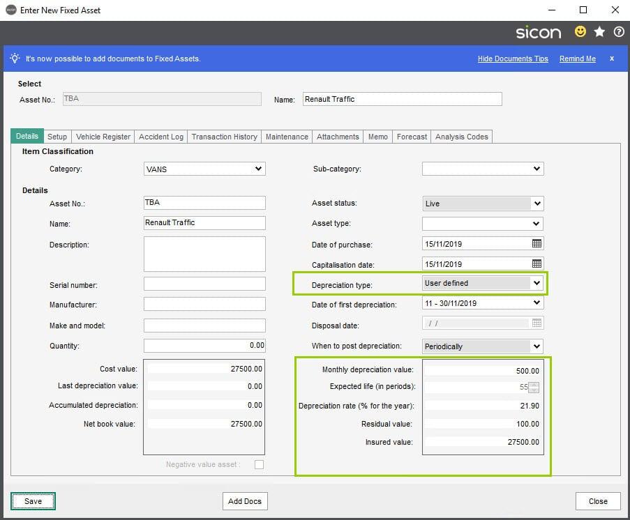 Sicon Fixed Assets Help and User Guide - Enter New Fixed Assets