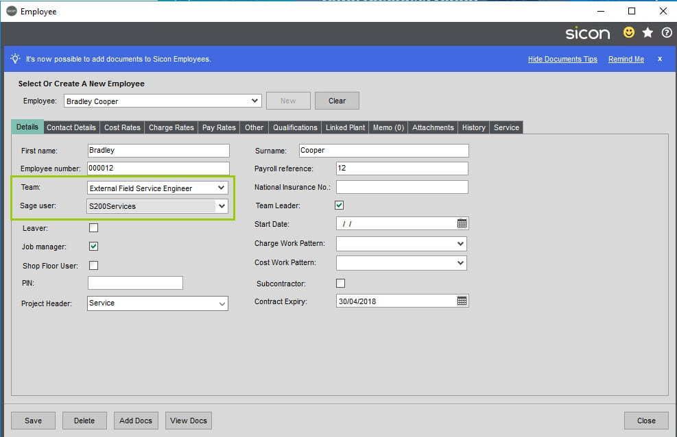Sicon Service Help and User Guide - 4.12 Maintain Employees screen 1