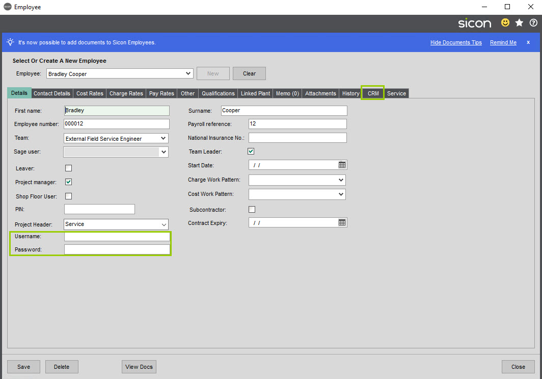 Sicon Service Help and User Guide - 4.12 screen 1