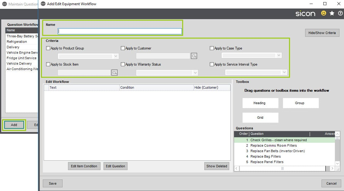 Sicon Service Help and User Guide - 4.18 Equipment question workflow screen 1
