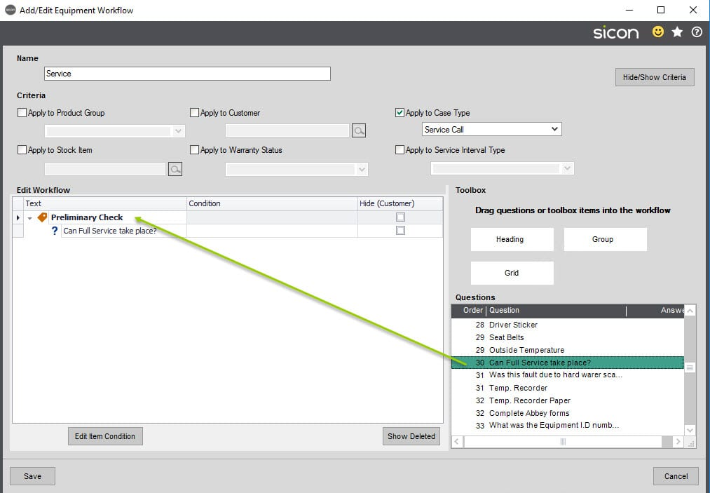 Sicon Service Help and User Guide - 4.18 Equipment question workflow screen 2