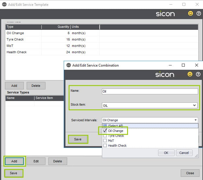 Sicon Service Help and User Guide - 4.21 Service Template screen 2