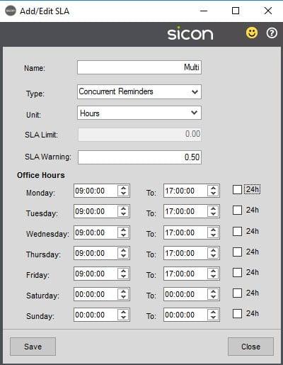 Sicon Service Help and User Guide - 4.22 SLA screen 3