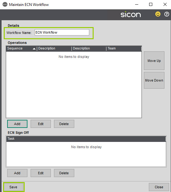 Sicon Service Help and User Guide - 4.27 screen 2