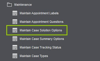Sicon Service Help and User Guide - 4.3 Maintain case solution options
