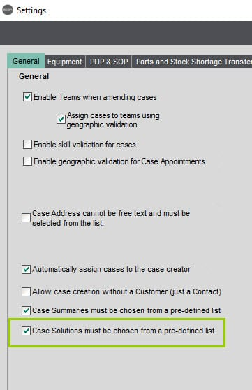 Sicon Service Help and User Guide - 4.3 Settings screen
