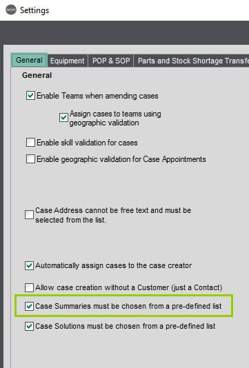 Sicon Service Help and User Guide - 4.4 Case Summary Settngs screen