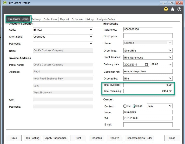 Hire Manager total invoiced and remaining fields