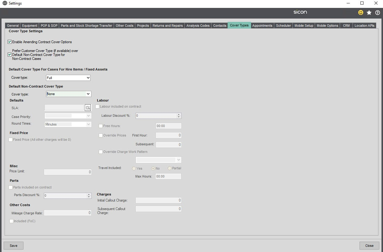 Sicon Service Help and User Guide - 5.10 Cover Types tab screen 1