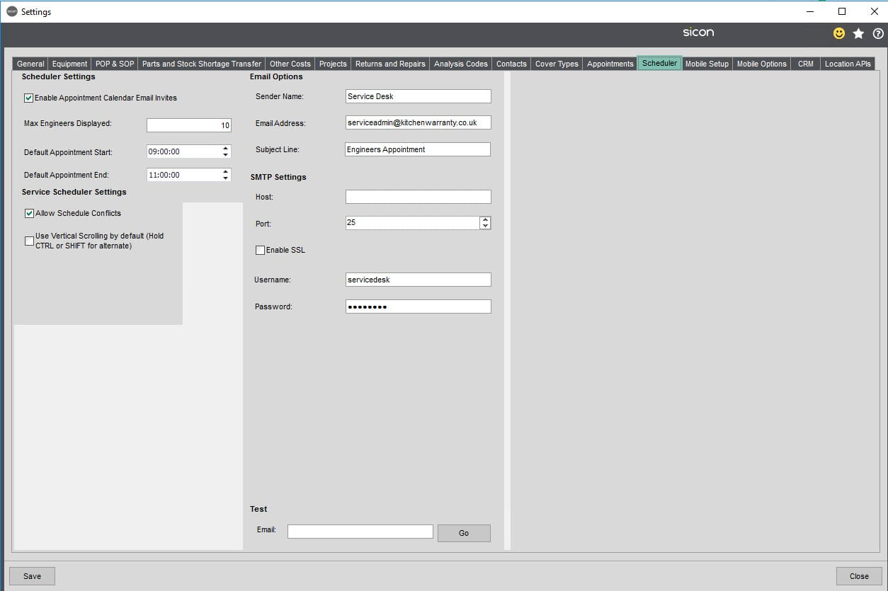 Sicon Service Help and User Guide - 5.12 Scheduler Tab screen 1