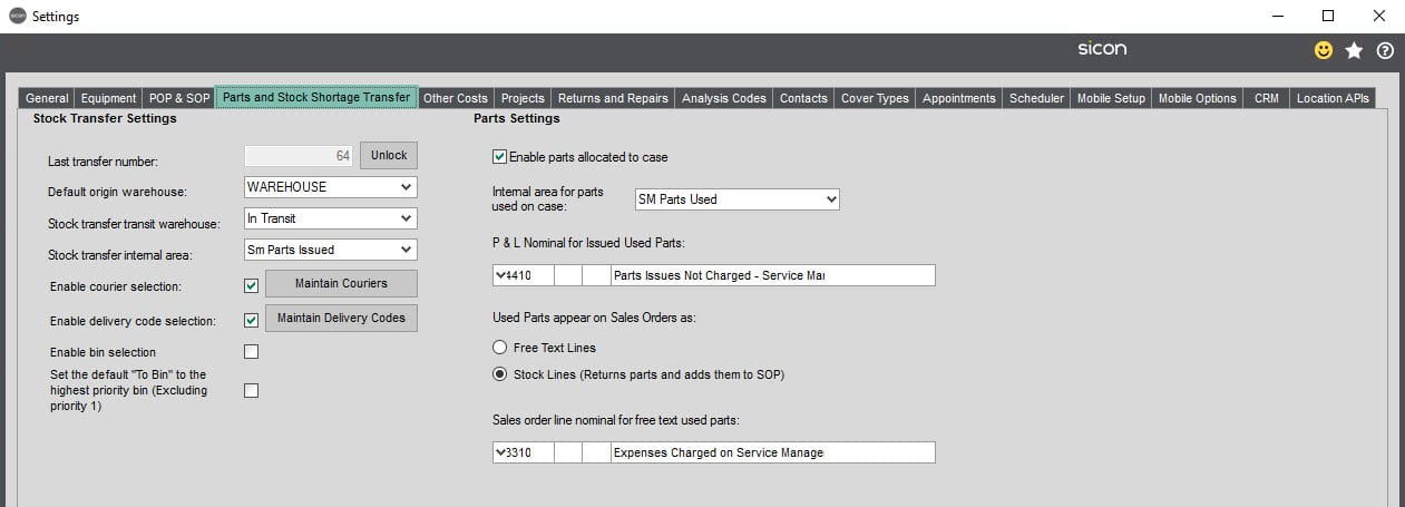 Sicon Service Help and User Guide - 5.4 Parts and Stock Shortage screen 1
